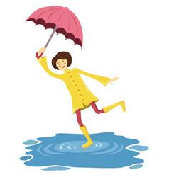 dancing umbrella girl yellow raincoat vector image