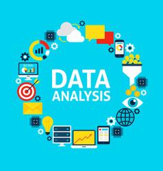 data analysis flat circle vector image