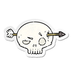 Distressed sticker of a cartoon skull with arrow vector