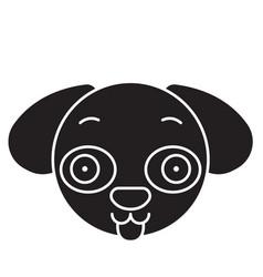 doggy emoji black concept icon doggy emoji vector image