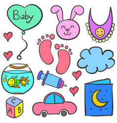 doodle of baby theme with toys vector image