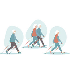 Elderly senior couple making nordic walking vector