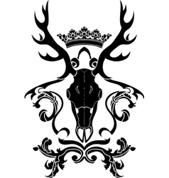 Emblem heraldic symbol with deer skull and crown vector image