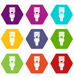 energy saving bulb icon set color hexahedron vector image