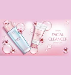 Facial cleanser cosmetics bottles mockup banner vector