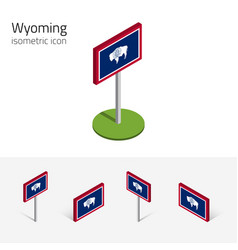 Flag wyoming usa 3d isometric flat icons vector