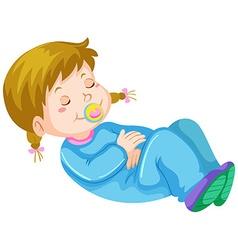Girl toddler having nap vector