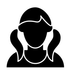 Girl with tails avatar solid icon faceless girl vector