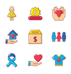 Give away icons set cartoon style vector