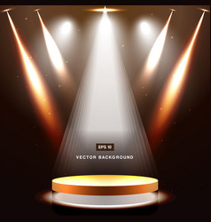 gold stage with spotlight and star on brown vector image