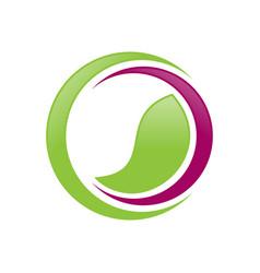 Green balance wellness crescent symbol design vector