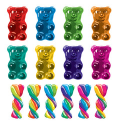 Gummy bear candies and twisted lollies vector