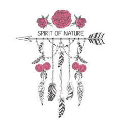 Hand drawn boho style design with rose flower vector