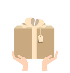 hand giving present in flat style - gift vector image