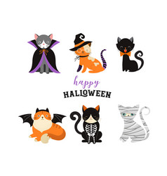 happy halloween - cats in monsters costumes vector image