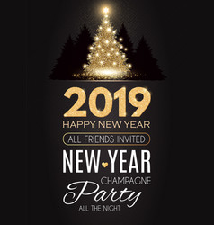 happy hew 2019 year gold shining christmas tree vector image