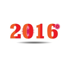 Happy new year 2016 text design with flower vector image