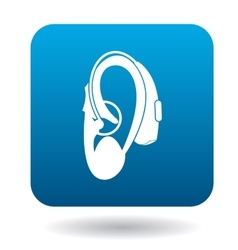Hearing aid on an ear icon icon simple style vector