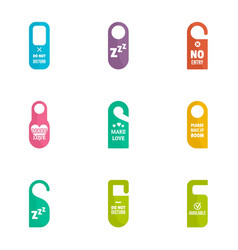 Hotel room tag icon set flat style vector
