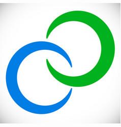 Interlocking circles rings abstract logo element vector