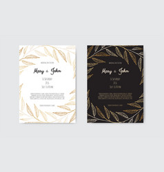invitation with gold floral elements vector image