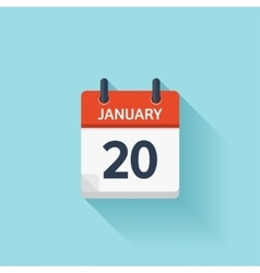 January 20 flat daily calendar icon Date vector