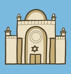Jewish synagogue icon hand drawn style vector