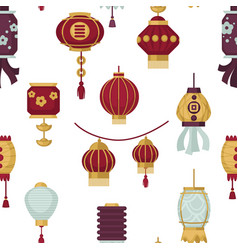 lanterns of eastern and oriental style seamless vector image