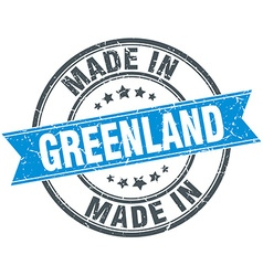 made in Greenland blue round vintage stamp vector image