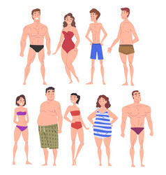 male and female body types set people vector image