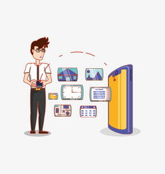 man with smartphone transfer data social media vector image