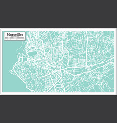 Marseille france city map in retro style outline vector