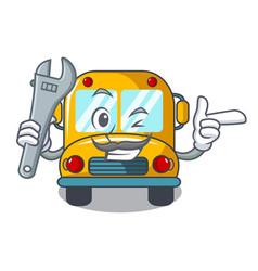 Mechanic school bus mascot cartoon vector