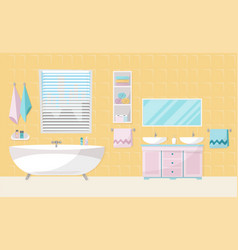 Modern bathroom interior with tub bathroom vector