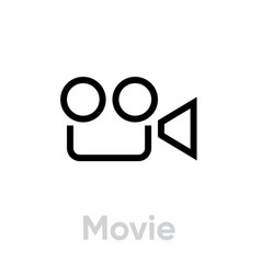 movie icon flat linear design editable vector image