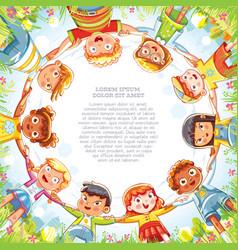 Multinational group children holding hands vector