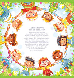 multinational group of children holding hands vector image