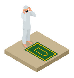 Muslim man prays flat isometric vector