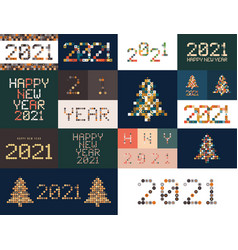 new year diverse unusual sign set for 2021 event vector image