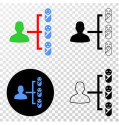Newborn parent links eps icon with contour vector