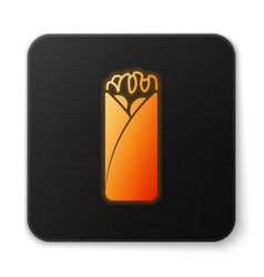Orange glowing burrito icon isolated on white vector