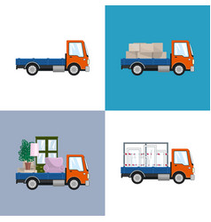 Orange small trucks with different loads vector