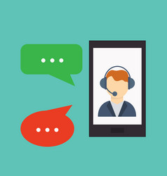 Phone call button on smartphone screen hand vector