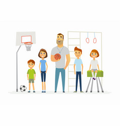 physical education lesson at school - modern vector image