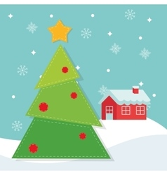 Pine tree and house of Christmas season design vector