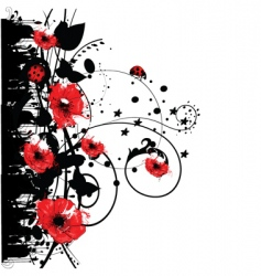 red poppy grunge vector image