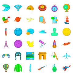 Research icons set cartoon style vector