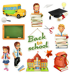 School and education 3d icon set Funny cartoon vector