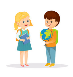 schoolgirl with book and schoolboy with globe vector image