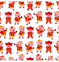 seamless pattern with little pink pigs vector image